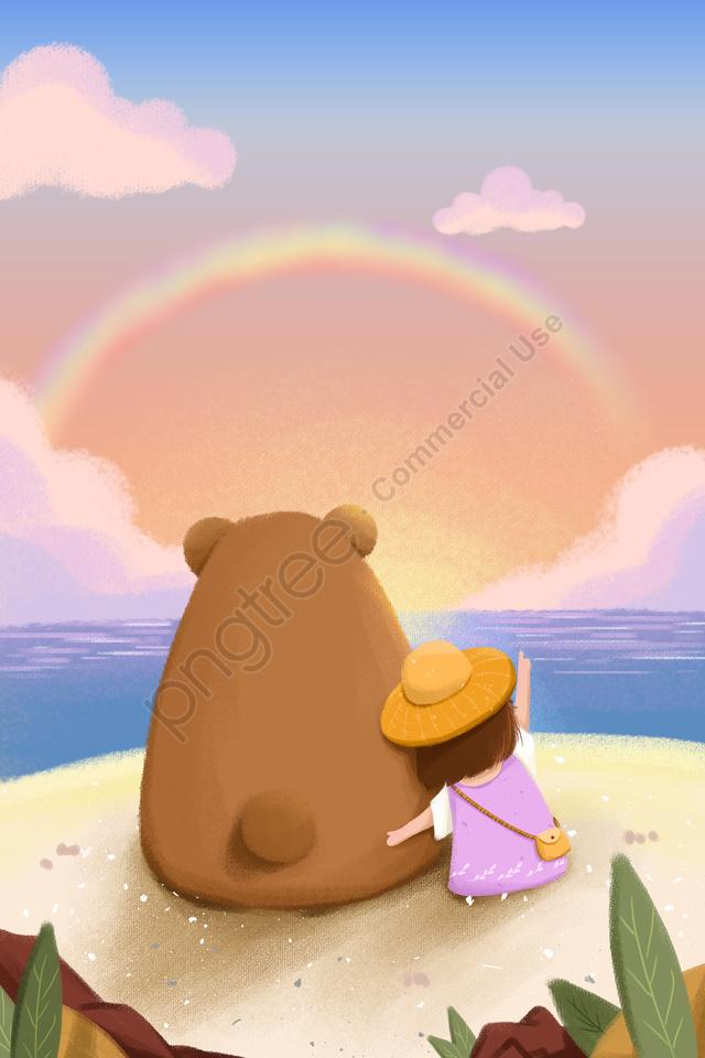 कोमल लड़की भालू समुद्र तट, सागर, नारंगी, कार्टून llustration image