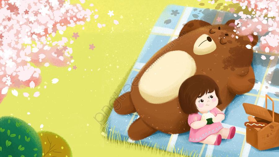 부드러운 소녀 곰 봄 여행 벚꽃, 순회 공연, 녹색, 만화 llustration image