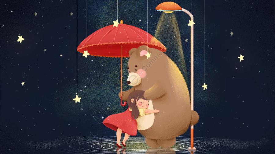 कोमल लड़की भालू छाता तारों वाला आकाश, गले, नीले, कार्टून llustration image