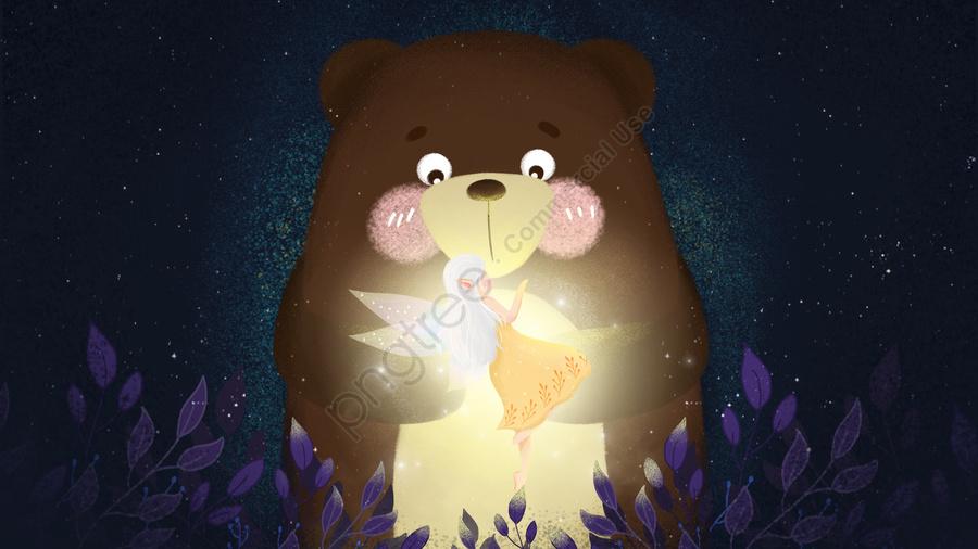 Gentle Girl Elf Bear Night Sky, Night, Sky, Blue llustration image