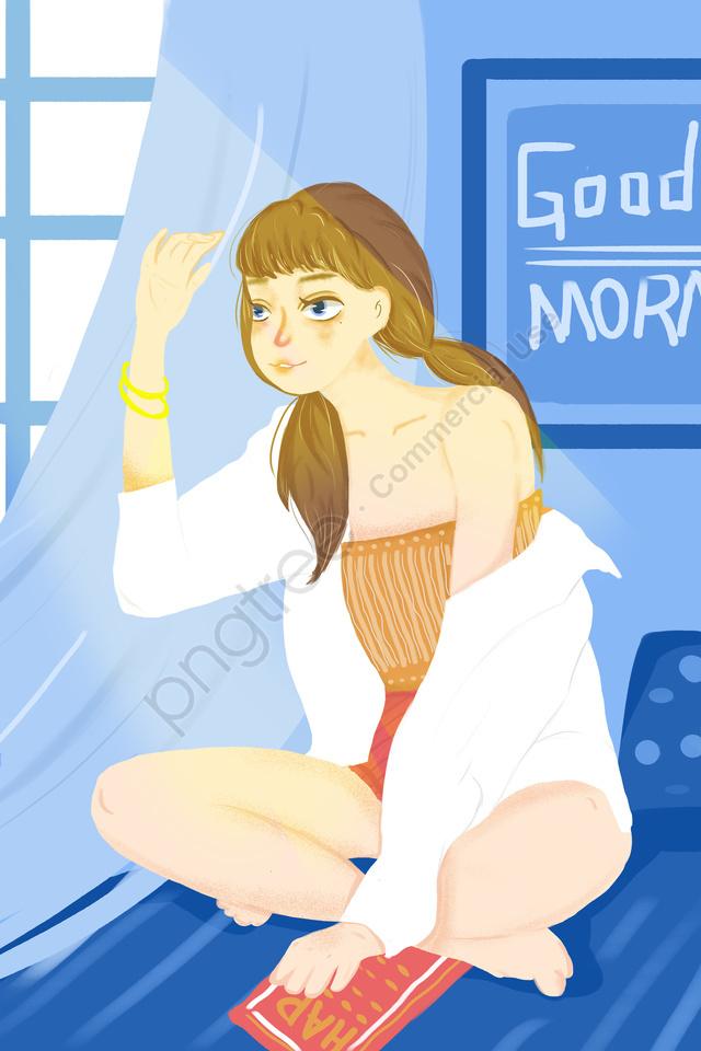 優しい女の子おはようご挨拶日光新鮮, 可愛い, 十代の少女, 手塗り llustration image