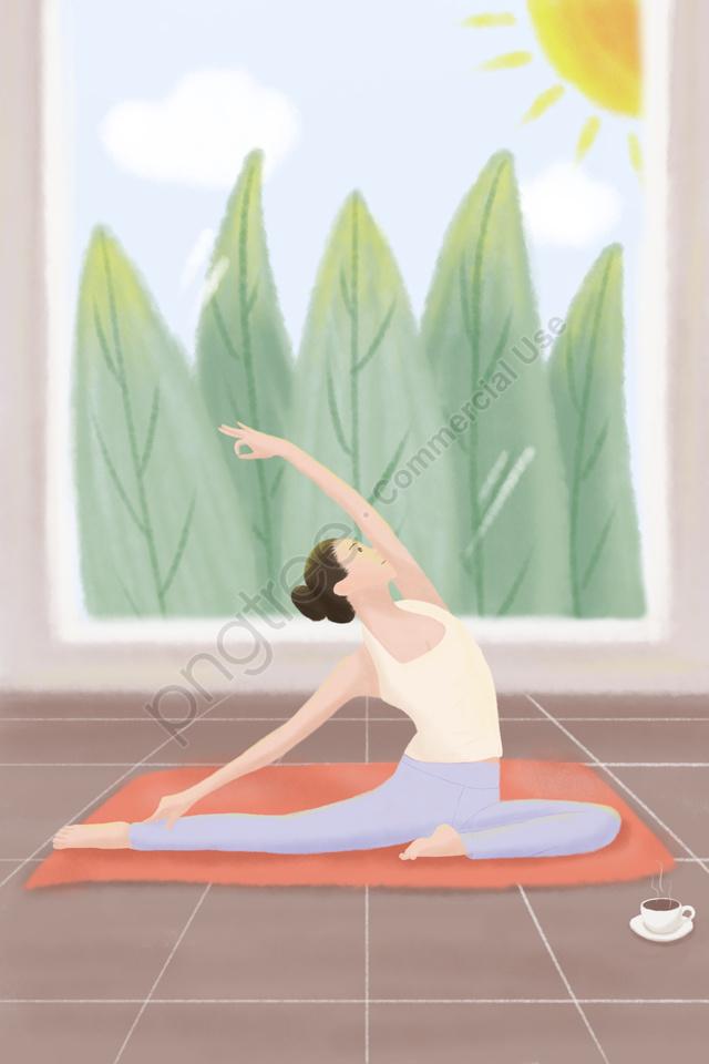 朝の日差しの中でヨガを練習する穏やかな女の子, 植物, 屋内, ガール llustration image