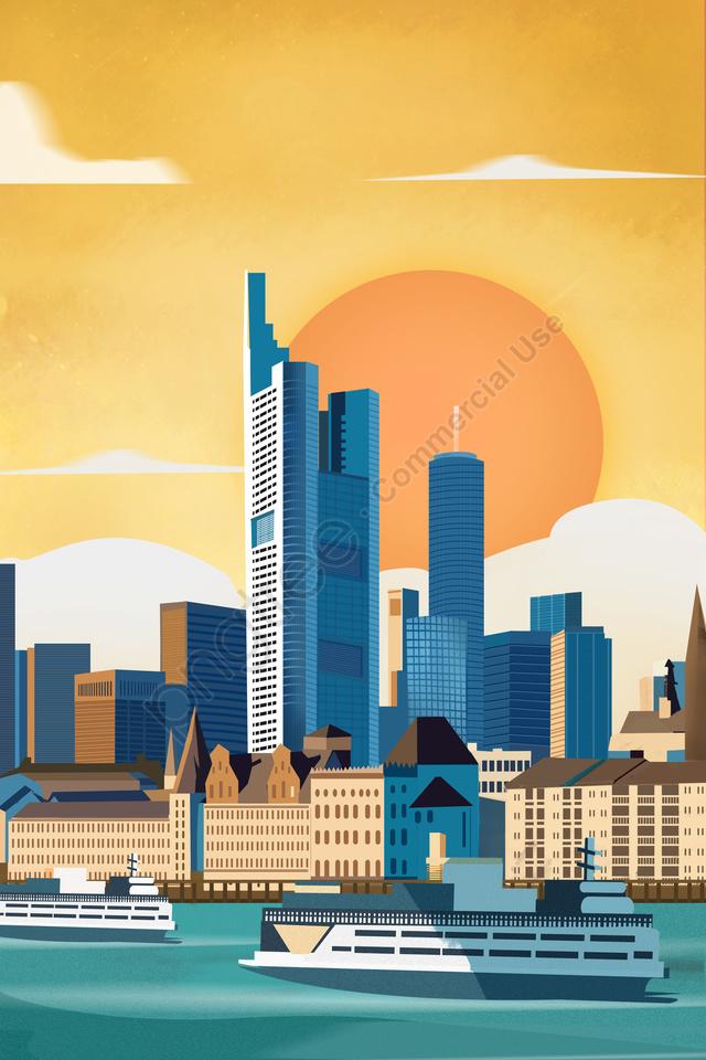 독일 프랑크푸르트 국제 도시 경관 건축, 독일, 프랑크푸르트, 국제 도시 llustration image