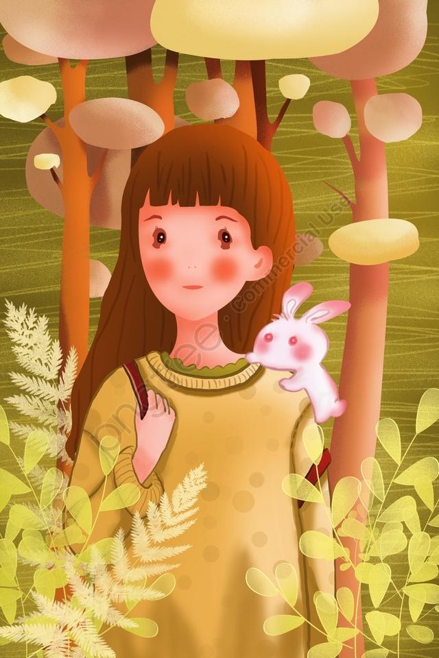 Garota Animal Humano E Natureza Pessoas E Animais, Linda, Adolescente, Cabelo Longo llustration image