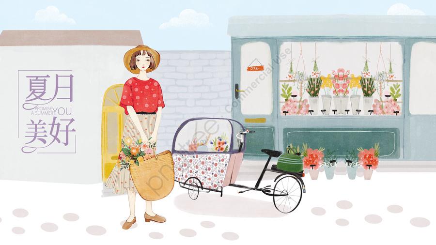 女の子イラスト家フラワーショップ, 植物, フラワー, フロート llustration image