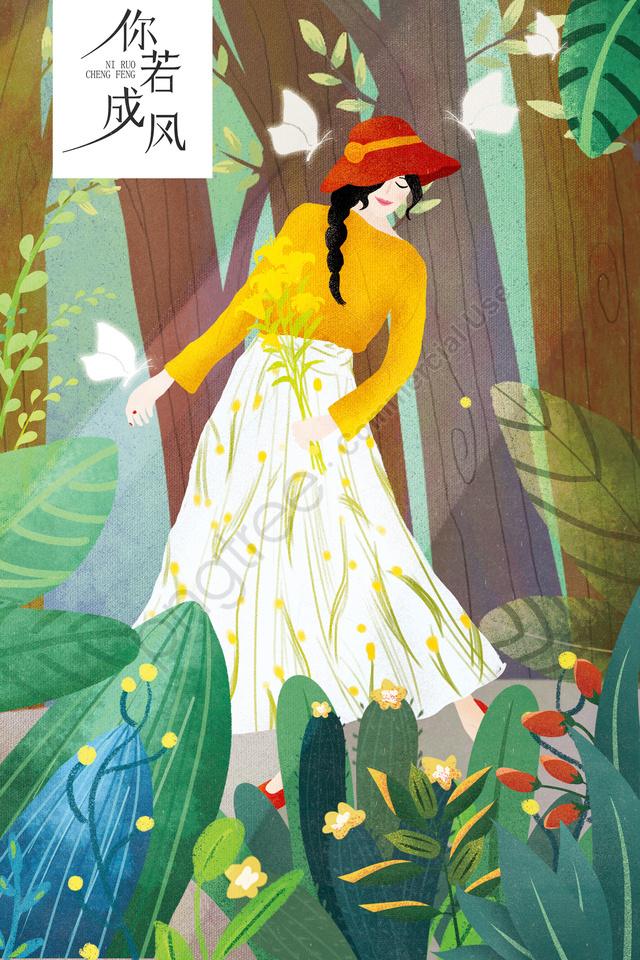 女の子イラスト植物の木, バタフライ, フラワー, ダンシング llustration image