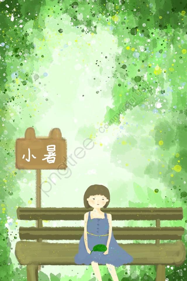 女の子木草葉, グリーン, ブルー, 手塗り llustration image