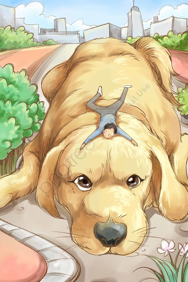ゴールデンヘア犬動物素敵, 手塗り, イラスト, 欲しい llustration image