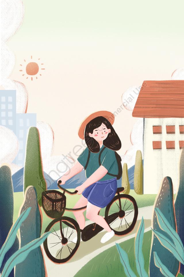 Selamat Pagi Pagi Pagi Segar, Ilustrasi, Tangan Dicat, Bersepeda llustration image
