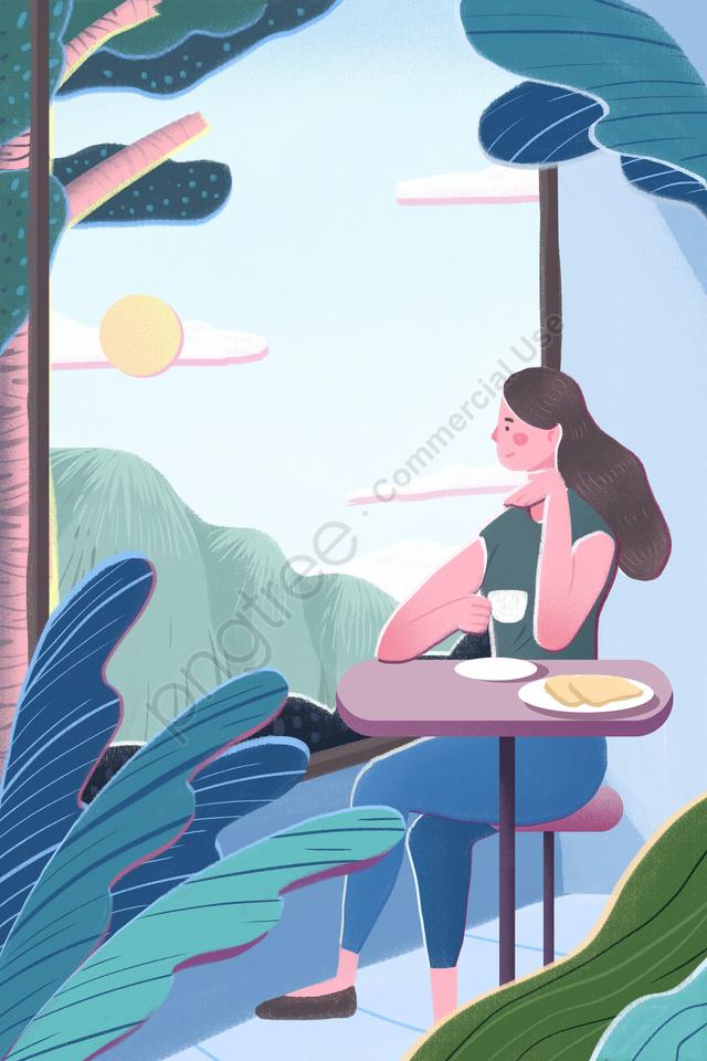 Bonjour Le Matin Frais Du Matin Illustration Peints à La