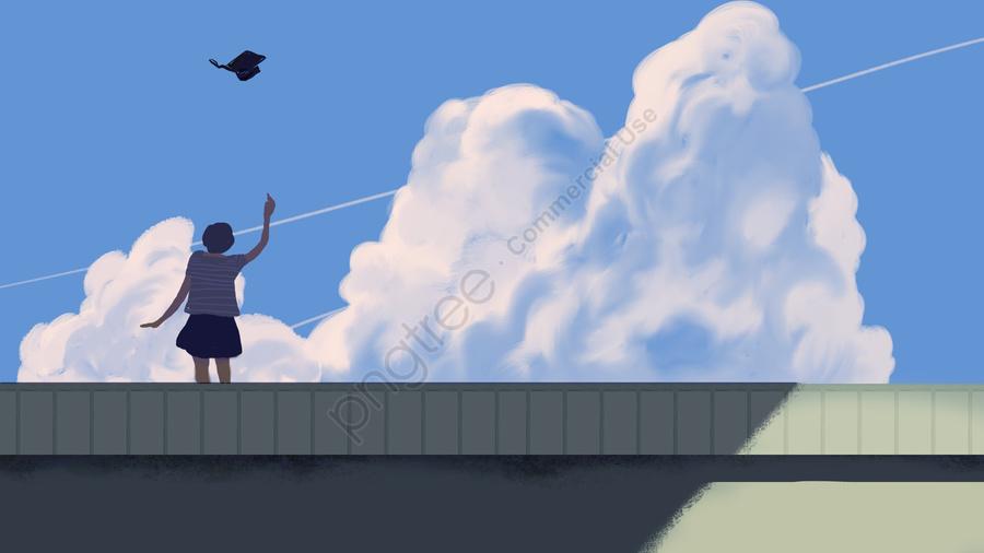 Tamat Pengajian Lepasan Sarjana Meniupkan Hatama Langit Biru Dan Awan Putih, Gadis, Pelajar, Tangan Dicat llustration image