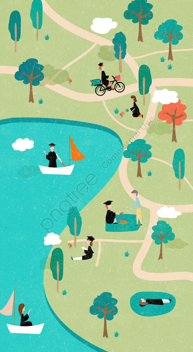 graduation season classmates leisure graduation trip, Play, Lake, Read llustration image