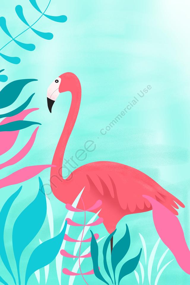 Grass Leaf Spring Spring, Scenes, Illustration, Flamingo llustration image