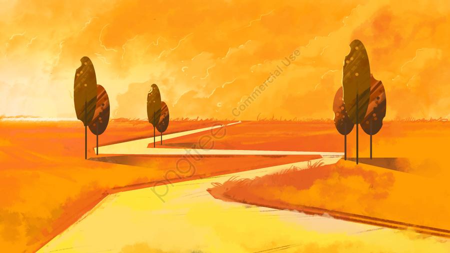 草原秋季節日假期季節樹過道, 晚霞, 天空, 草地 llustration image