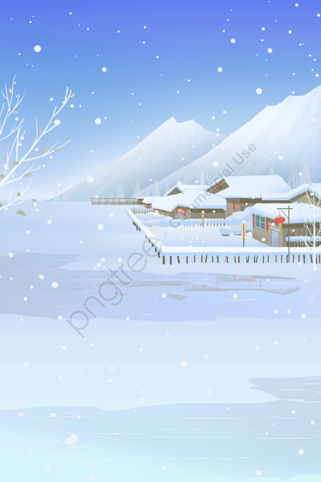Great Cold Winter Snow Scene Village, Heavy Snow, Scene, Great Cold llustration image