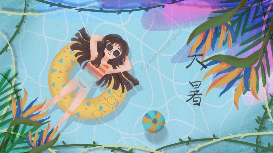great heat heat summer tropical, 大暑二十四節氣主題插畫, 大暑, 熱 llustration image