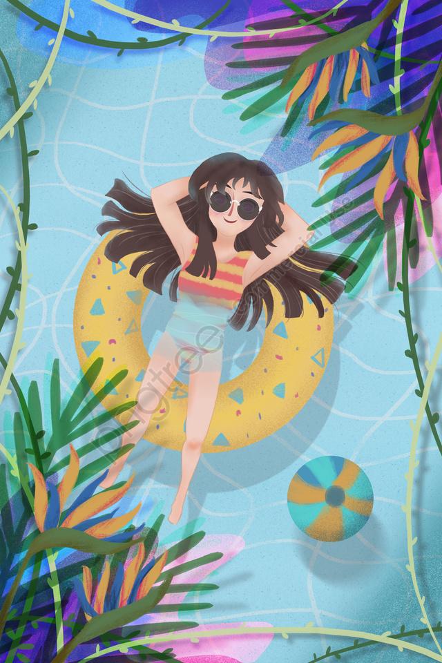 炎熱的夏季熱帶, 藍色, 王鶴, 波型 llustration image