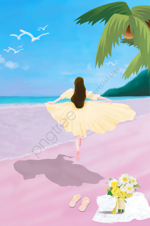 Great Heat Seaside Vacation Teenage Girl, Illustration, Summer, Solar Terms llustration image