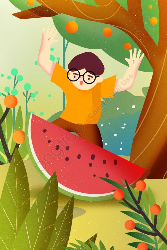 緑の美しい植物の木, 太陽の項, 夏, 夏の始まり llustration image