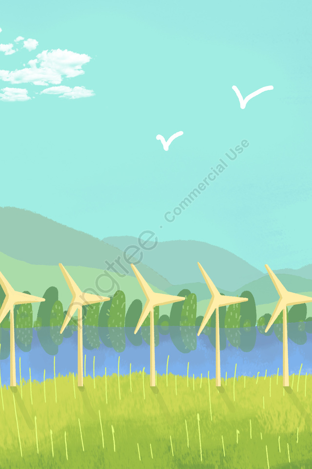 green environmental protection hand drawn illustration wind power, Blue Sky, White Clouds, Far Mountain llustration image