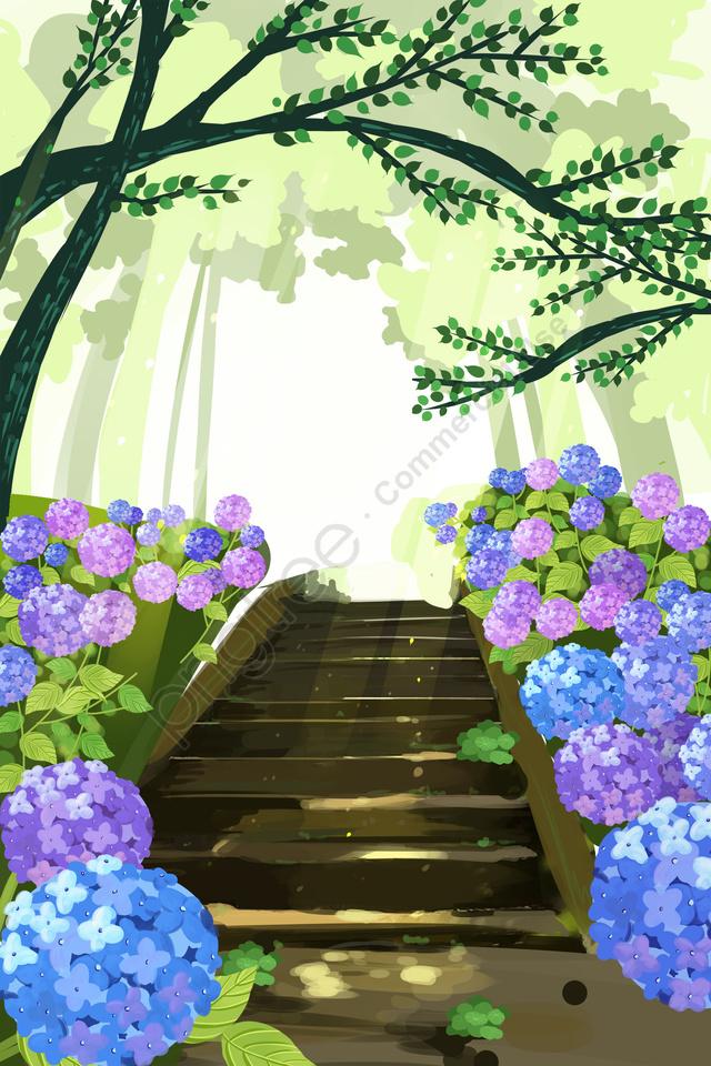 ग्रीन फील्ड वन ग्रीन शेड, फूल, फूल बिस्तर, रोमांटिक llustration image