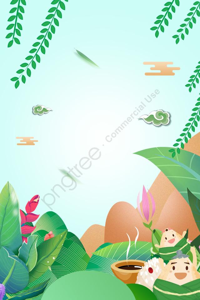 Green Gradient Cartoon Dragon Boat Festival Poster, Discount, Leaf, Far Mountain llustration image