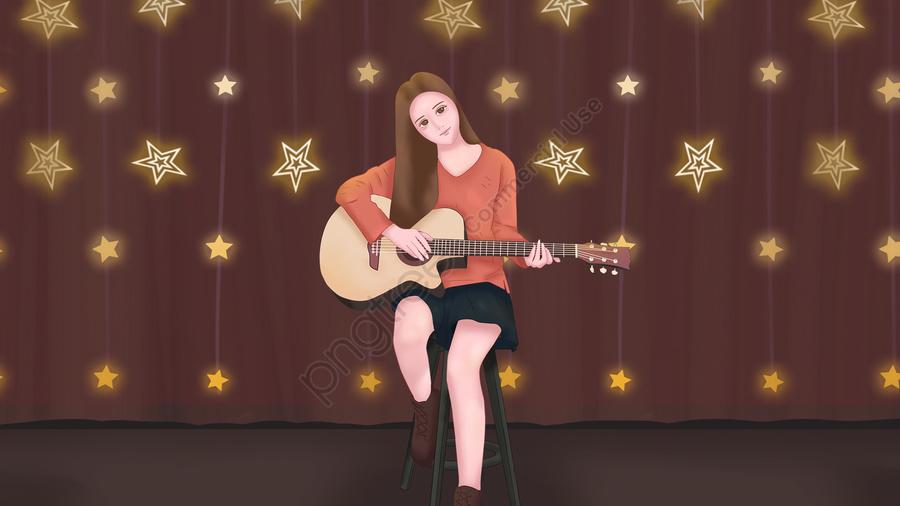 吉他樂器音樂女孩, 星光, 燈串, 性格 llustration image
