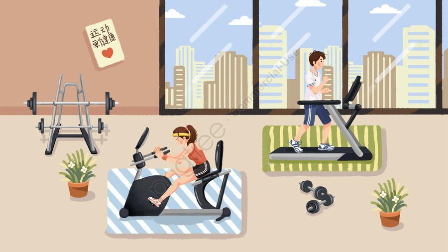 체육관 모션 실행 기계, 헬스, 문자, 여자 llustration image