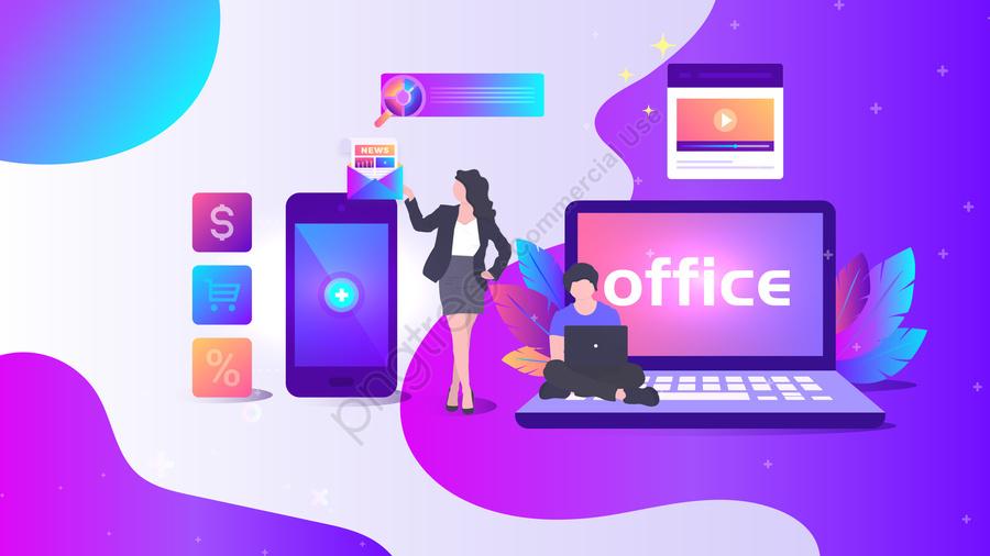 h5 page business office, Illustration, Computer, Data llustration image