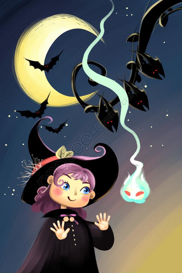 할로윈 축제 외국 축제 마녀, 마귀, 박쥐, 어둡다 llustration image