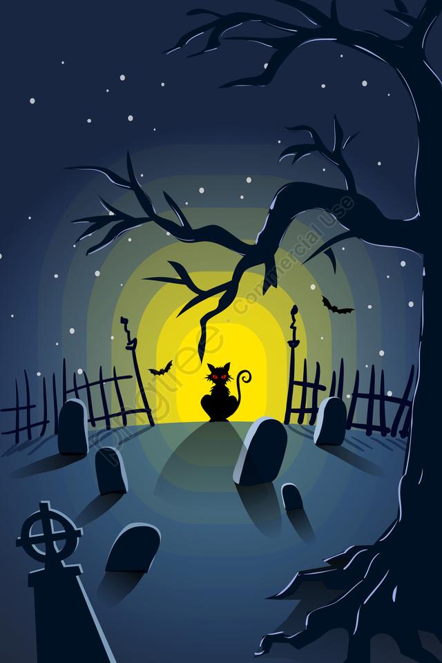 Festival De Festival Fantasma De Halloween Bat, Gato Preto, Olho Vermelho, A Noite llustration image