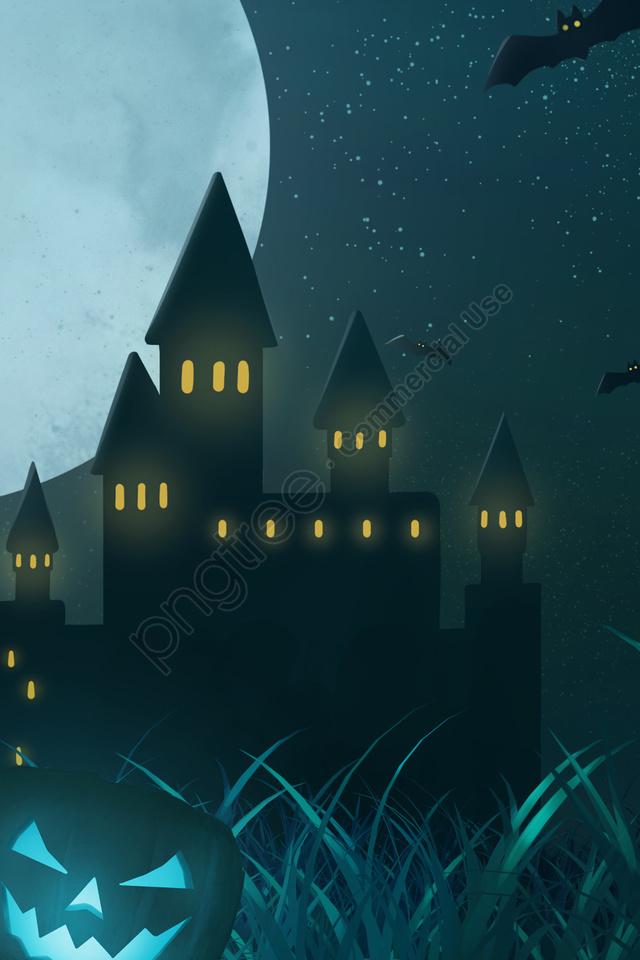 هالوين ليلة اليقطين فانوس الفزاعة, قلعة, بات, الرعب llustration image