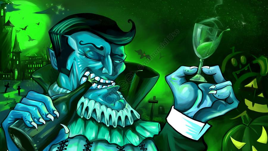 Halloween Pumpkin Dark Castle Wine Bottle, Dark, Weird, Terrible llustration image