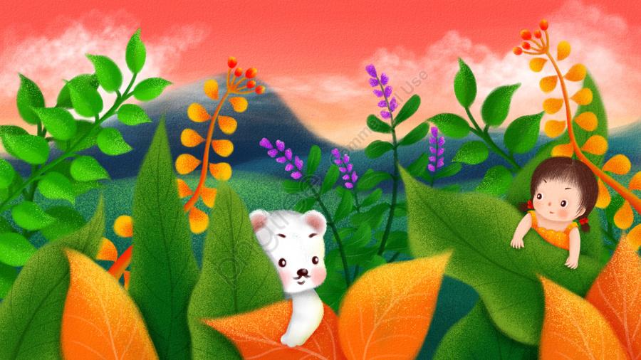 手描きイラスト子供の日子供イラストシロクマ, 少女, 草原, 葉 llustration image