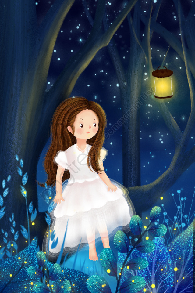 Hand Drawn Illustration Girl Fantasy Forest Starry Sky, Night, Midsummer Night, Sky llustration image