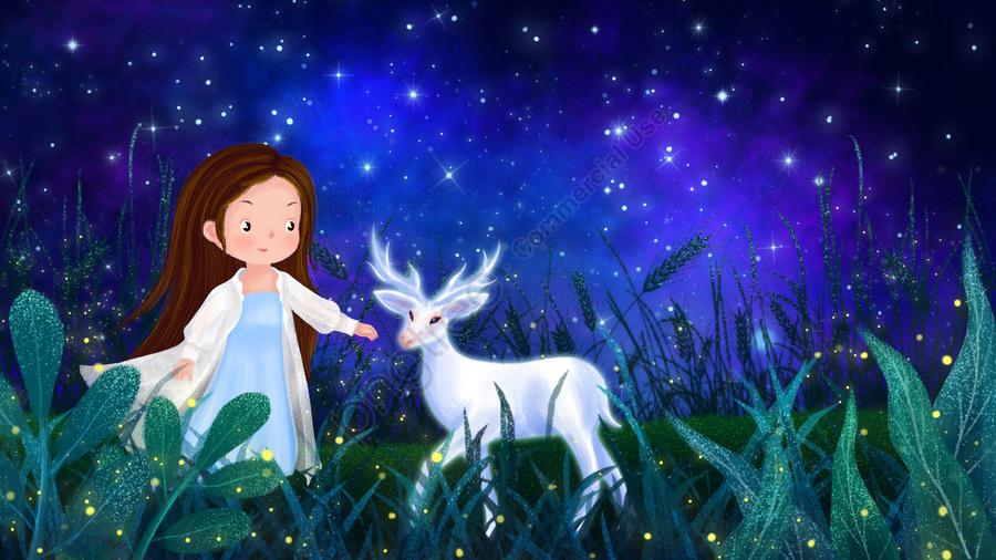 हाथ खींचा चित्रण आकाशी रात लड़की, सफेद हिरण, गरमी का मध्य रात, फूल llustration image