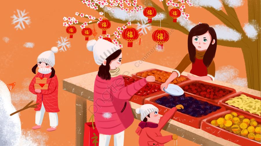 Mão Desenhada Estilo Elementos Chineses Ano Novo Festival Pequeno Ano, Criança, Feliz, Festival llustration image