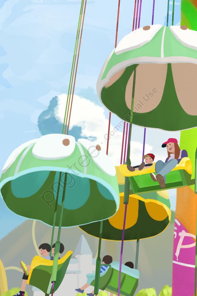 手描きの遊園地遊び遊び, ケーブルカー, 子供を持つ大人, ハッピー llustration image