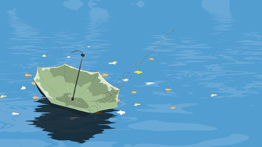 手描きの背景傘花びら, 湖水, 反射, 新鮮 llustration image