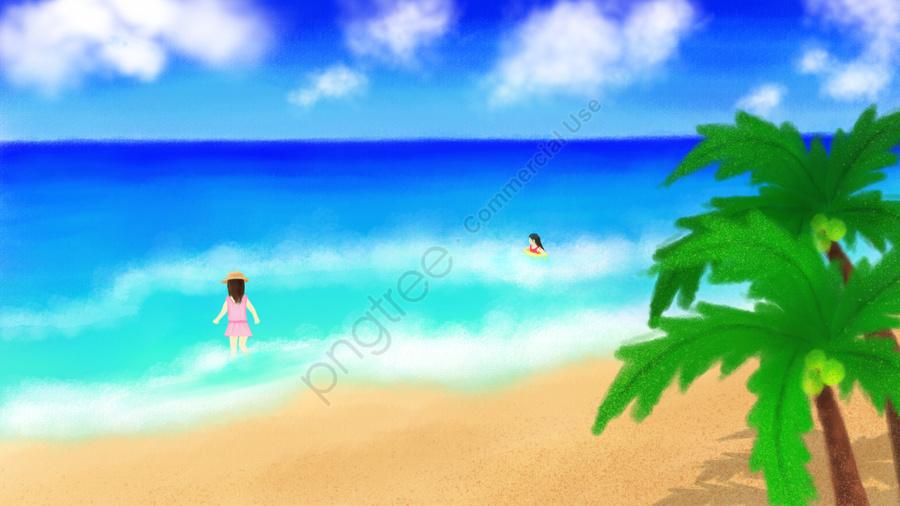 हाथ चित्रित समुद्र तट गर्मियों में नीला आकाश, सफेद बादलों, समुद्र तट, चरित्र llustration image