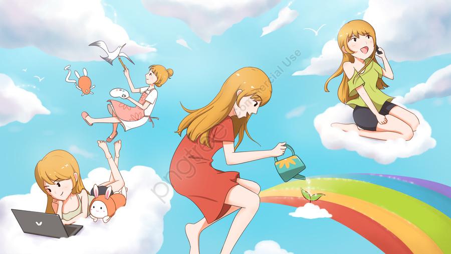 Vẽ Tay Nền Trời Xanh Thoải Mái Bầu Trời Mây Trắng, Ăng   Ten., Cầu Vồng, Cô Gái Nhật Bản llustration image