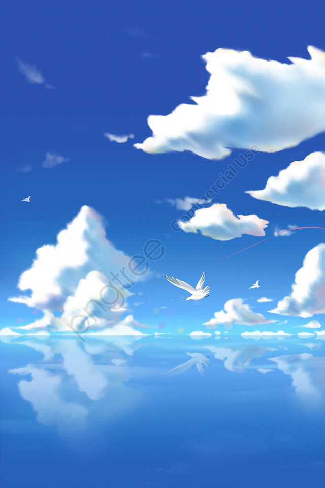 hand painted blue sky maritime white clouds, Cloud, Sky, Seagull llustration image