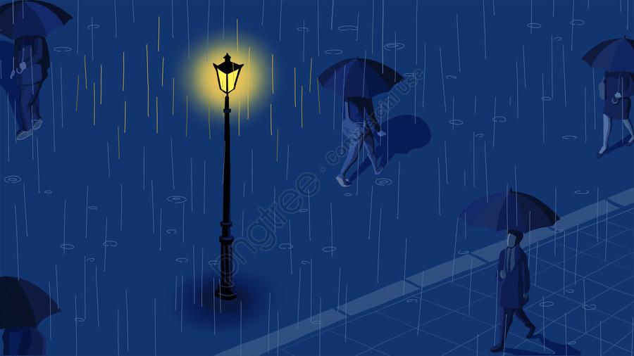 Vẽ Tay Cảm Xúc Thành Phố Mưa, Đèn, Mưa Lớn, Đêm llustration image