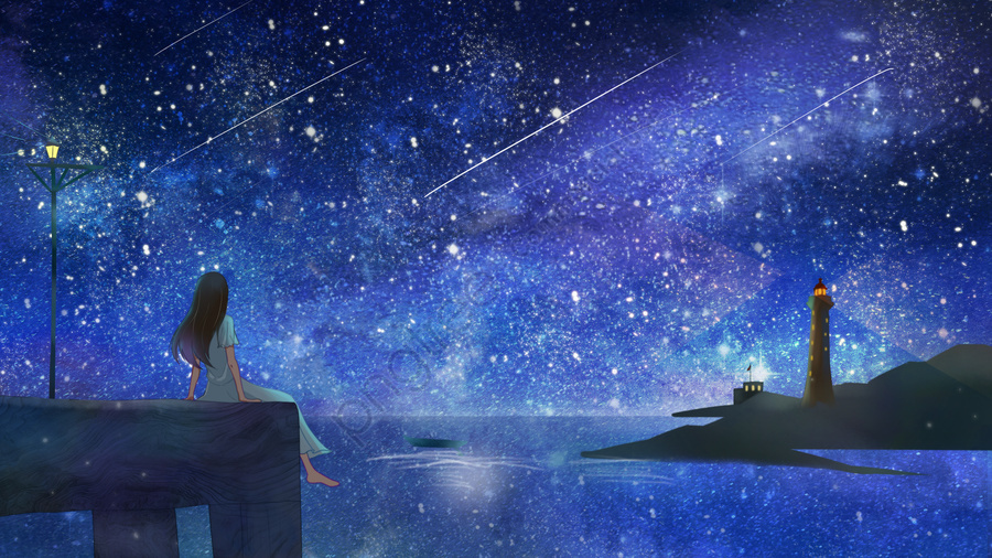 hand painted creative blue starry sky, Illustration, Illustration Background, Starry Background llustration image
