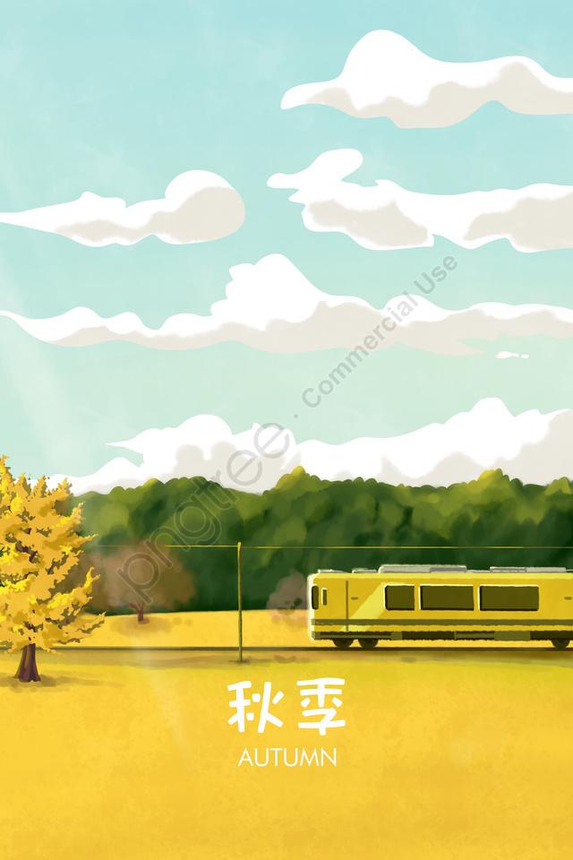 Hand Painted Fall Landscape Autumn Day, Autumn, Beginning Of Autumn, Yellow Orange llustration image