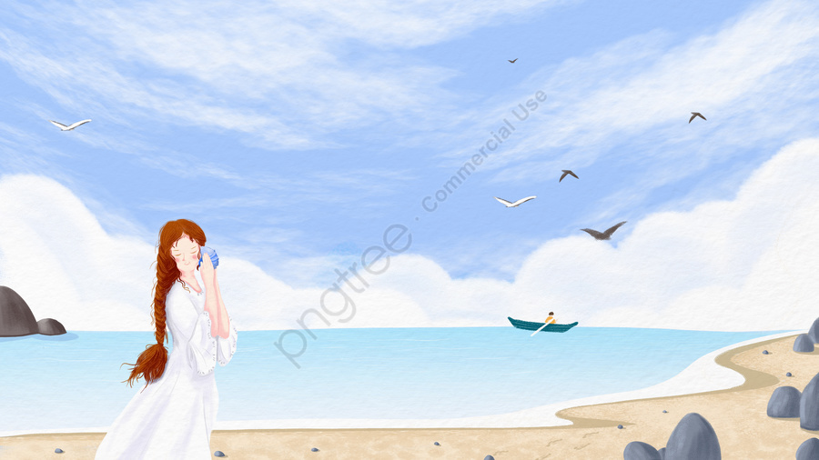 hand painted girl listening to the sea conch, Ocean, Sea, Beach llustration image