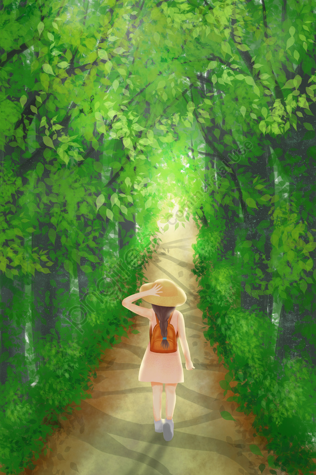 hand painted green illustration girl, Forest, Adventure, Outing llustration image