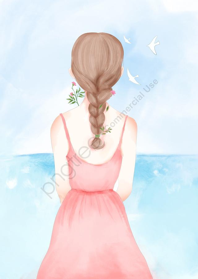 हाथ से चित्रित हाथ खींची लड़की लड़की वापस लड़की, लड़की वापस देखें, पानी के रंग का लड़की, वॉटरकलर गर्ल बैक व्यू llustration image