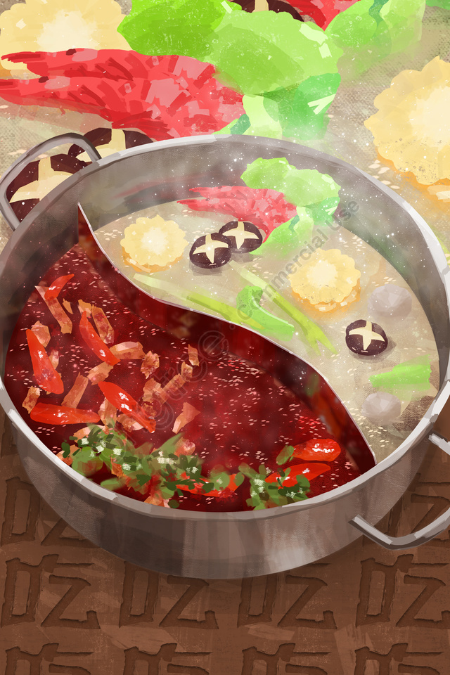 hand painted hot pot food food, Food, Eat, Chili llustration image