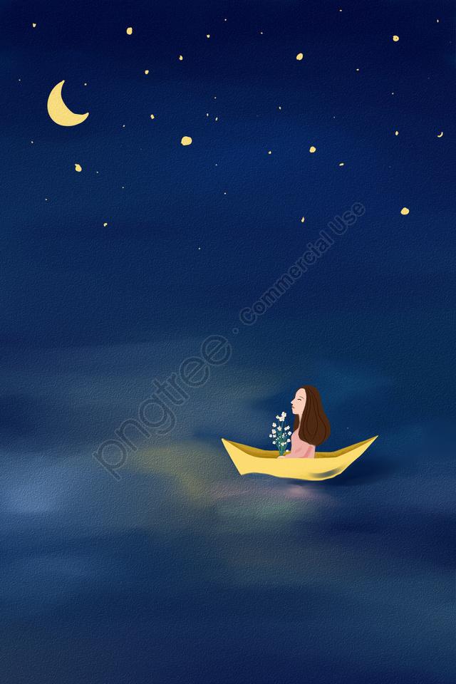हाथ चित्रित चित्रण नीला तारों वाला आकाश, सागर, नदी, नाव llustration image